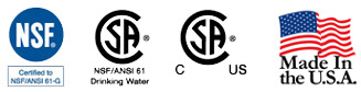 Certification approval icons for Fisher Item 2949 Ultra Spray Plus Pre-Rinse Faucet Spray Valve