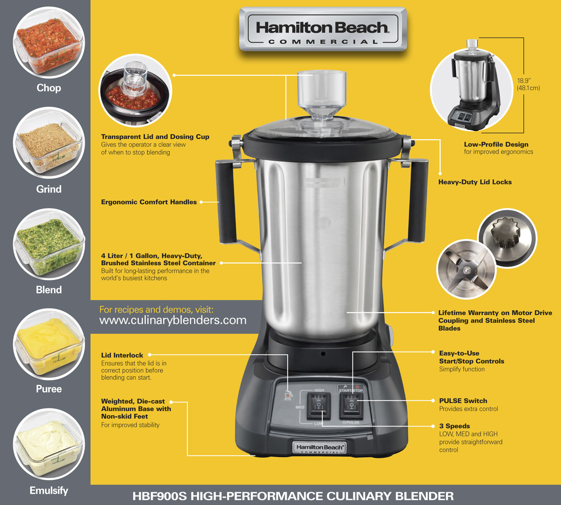 Hamilton Beach Expeditor HBF900S Commercial Culinary Blender Specification Image