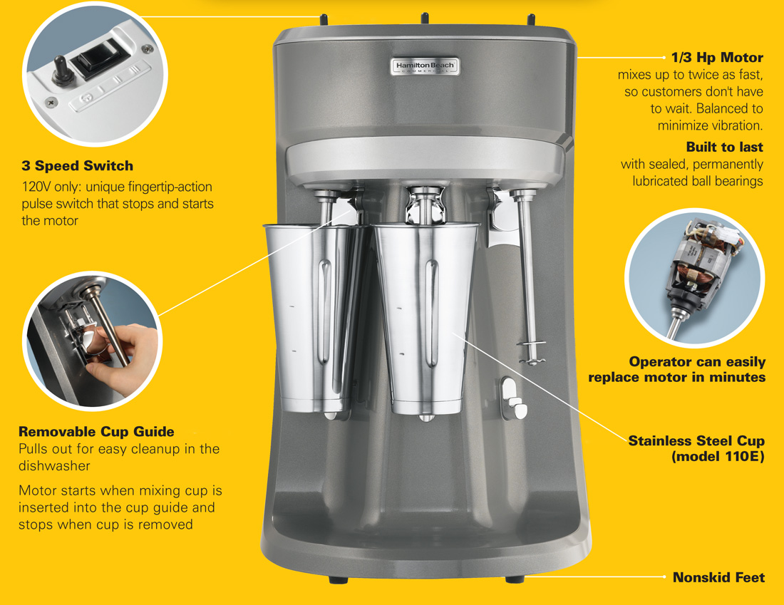 Hamilton Beach HMD400 Commercial Drink Mixer Specifications Image
