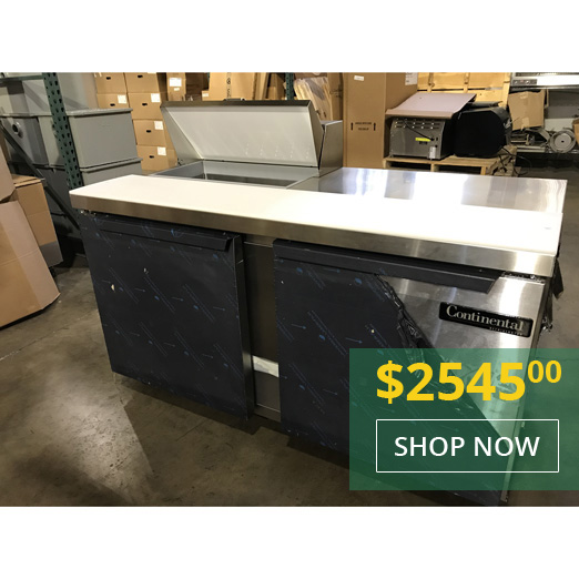 Continental Demo Unit SW60-8-FB 60 Inch Wide Salad/Sandwich Food Prep Table - Special Promotional Price