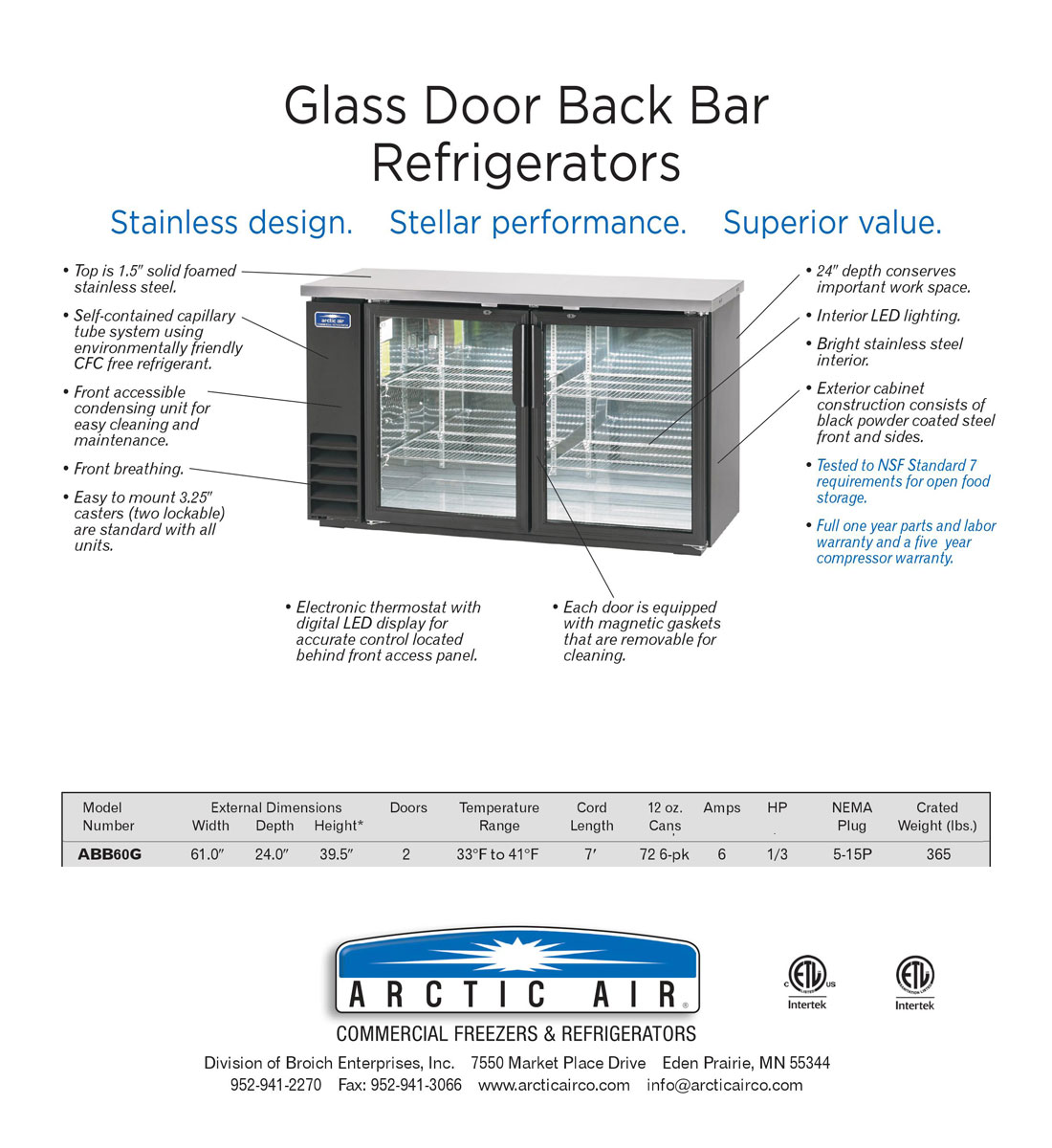 61 Inch Wide Back Bar Refrigerator with 2 Glass Doors and Stainless Steel Top (Arctic Air ABB60G) Specification Image