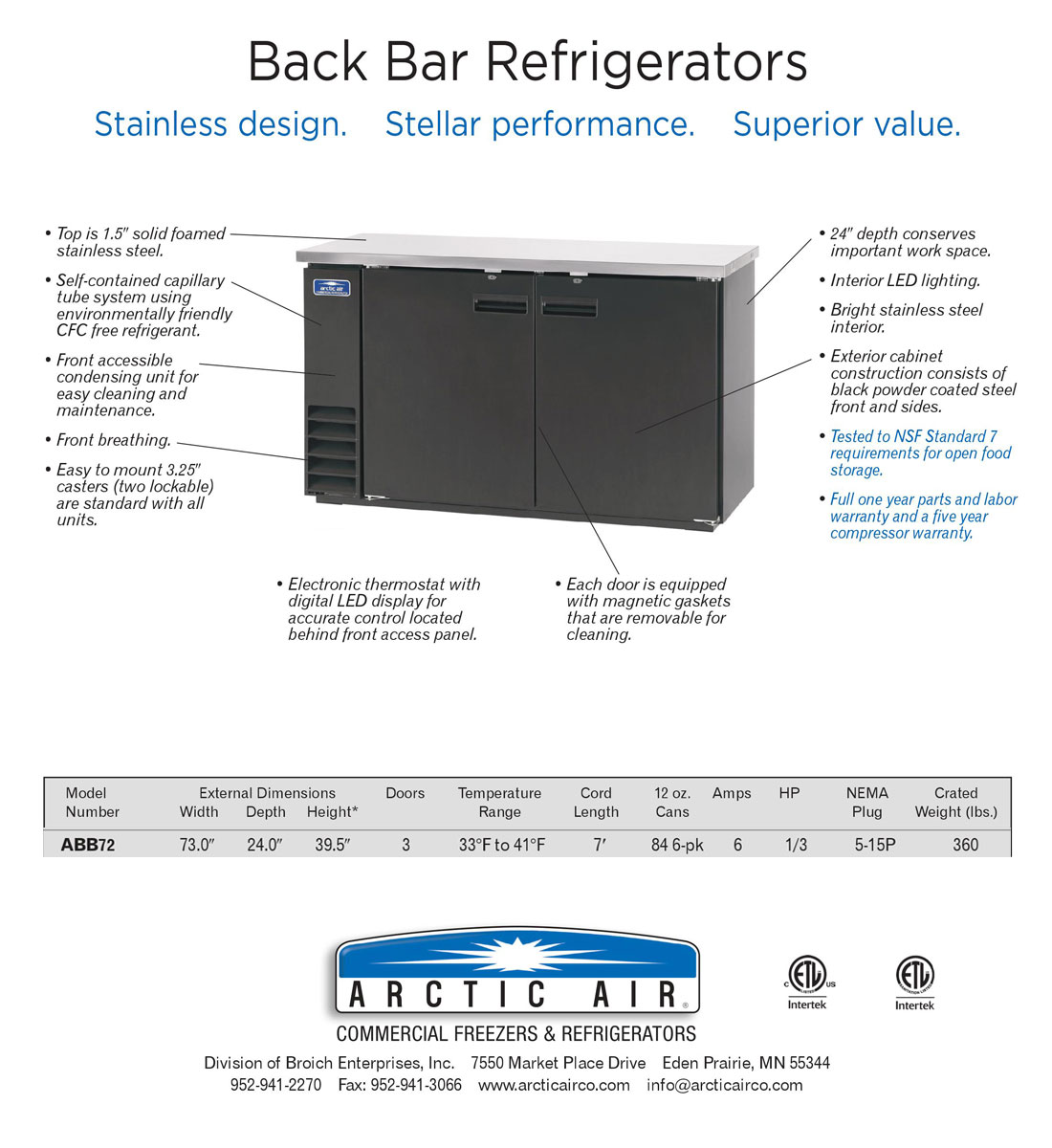 73 Inch Wide Back Bar Refrigerator with 3 Solid Doors and Stainless Steel Top (Arctic Air ABB72) Specification Image