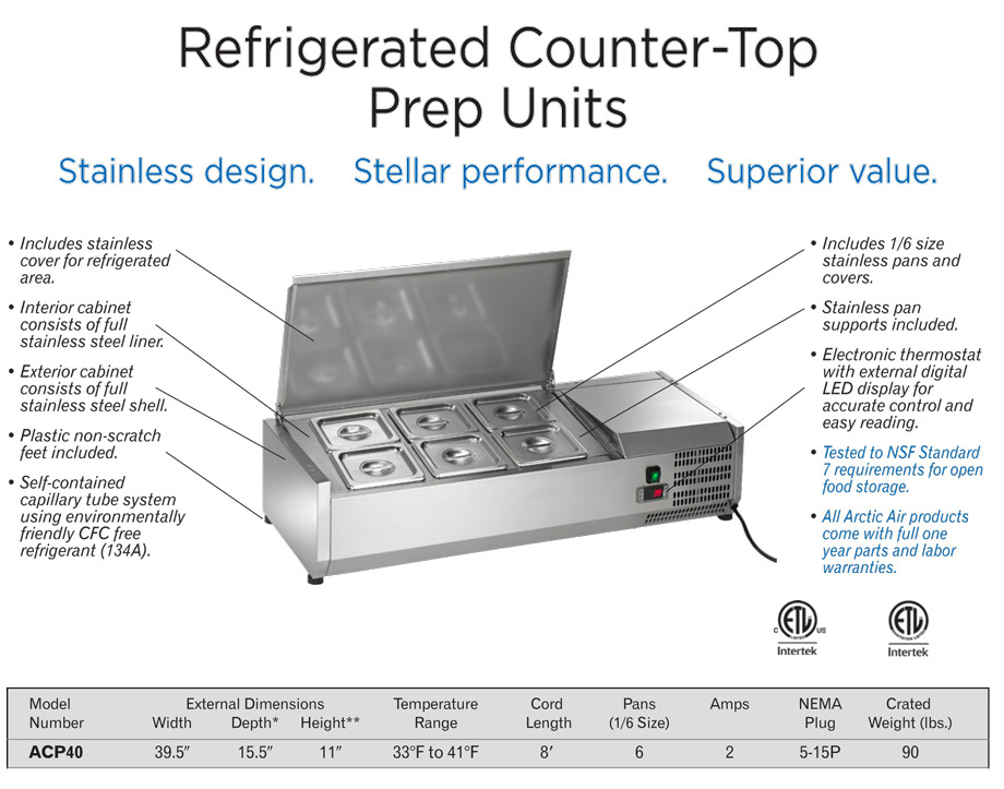 Arctic Air ACP40 Refrigerated Countertop Food Prep Rail Specifications Diagram