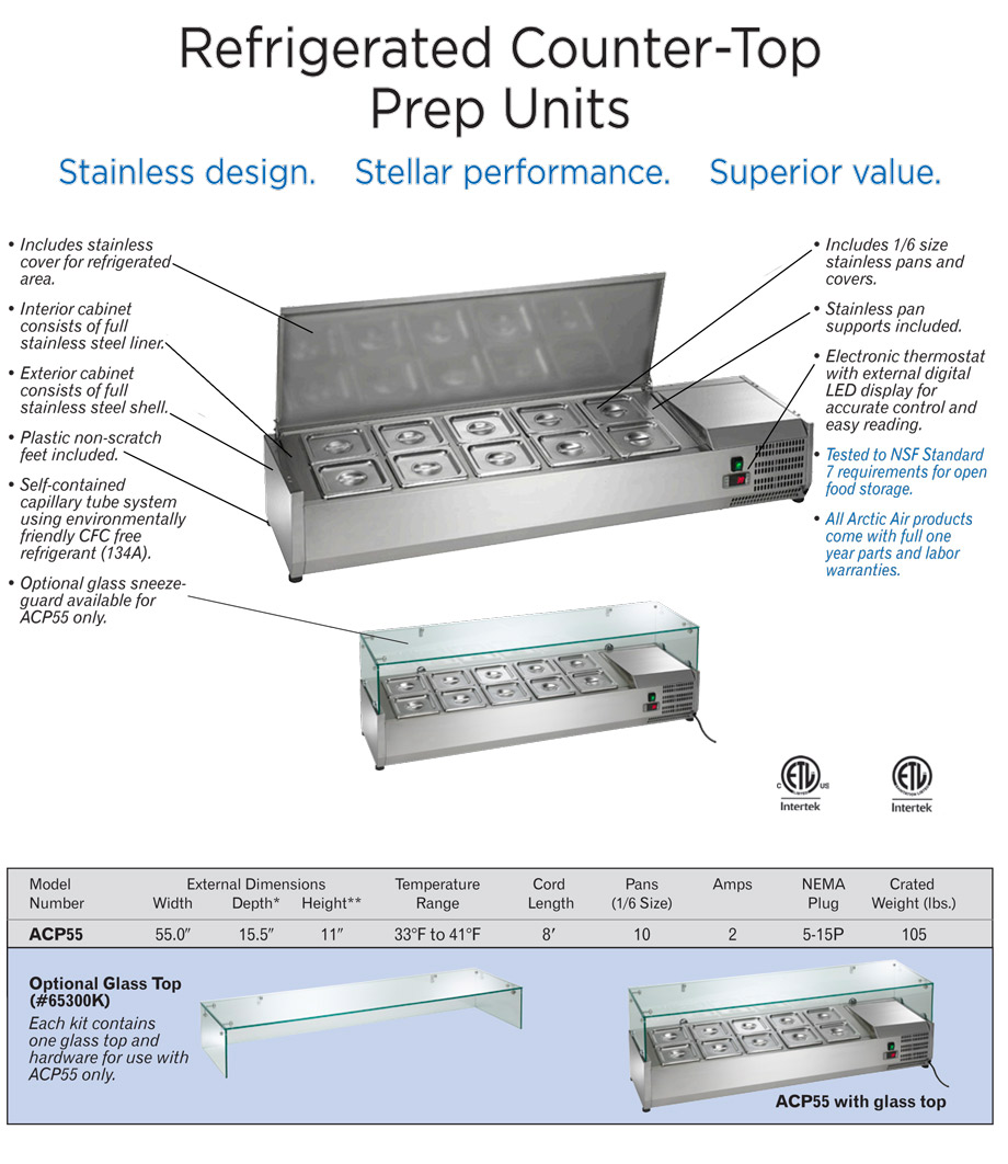 Arctic Air ACP55 Refrigerated Countertop Food Prep Rail Specifications Diagram