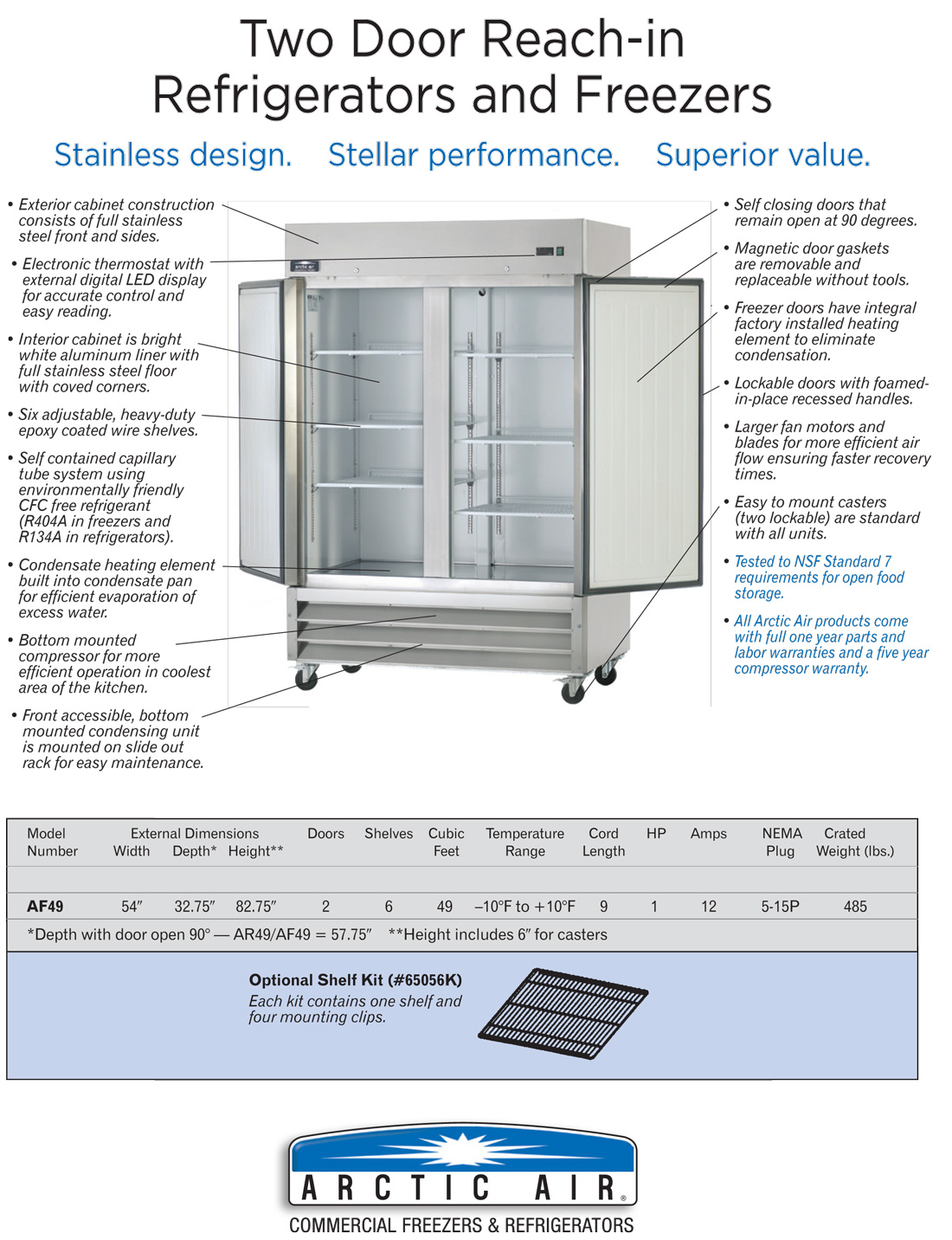 Arctic Air AF49 Commercial 2-Door Freezer Specifications Diagram