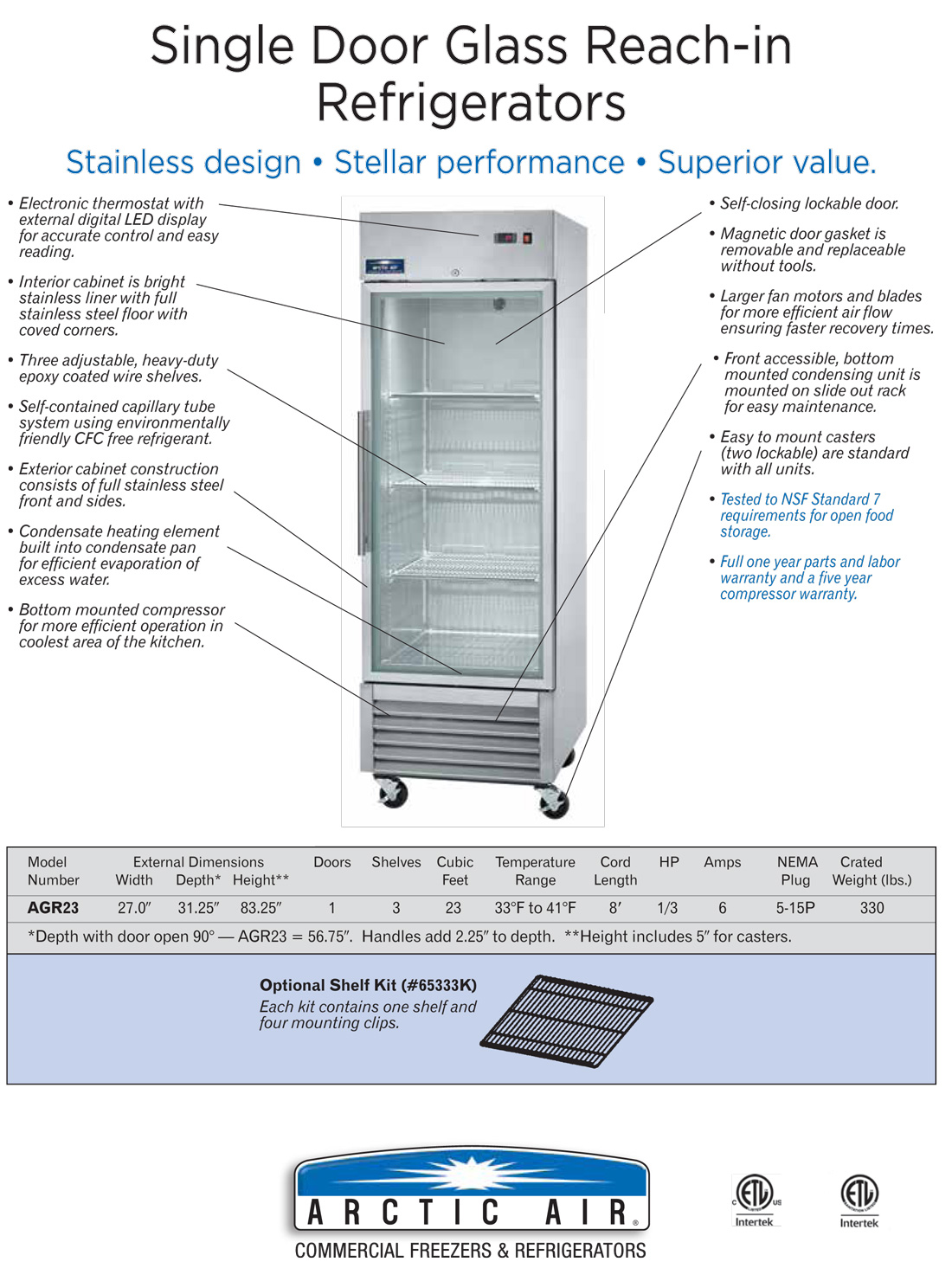 Arctic Air AgR23 Commercial Single Glass Door Refrigerator Specification Diagram