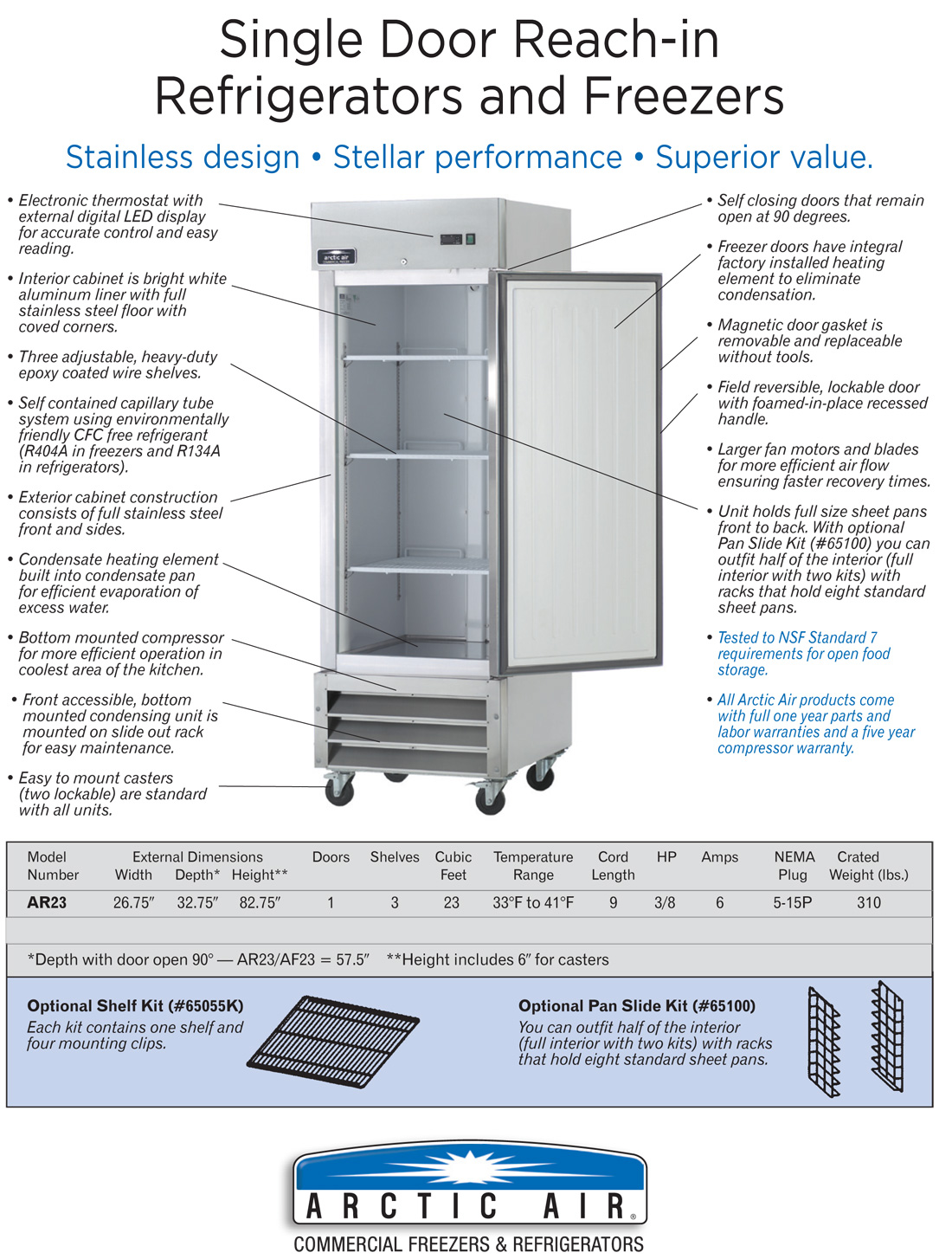 Arctic Air AR23 Commercial 1-Door Refrigerator Specification Diagram