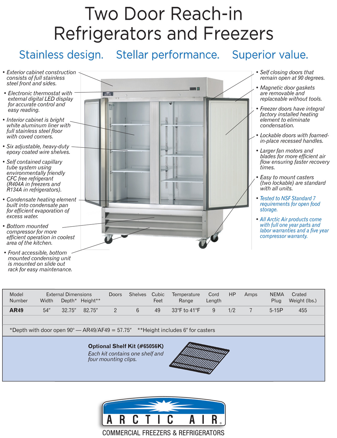 Arctic Air AR49 Commercial 2-Door Refrigerator Specifications Diagram