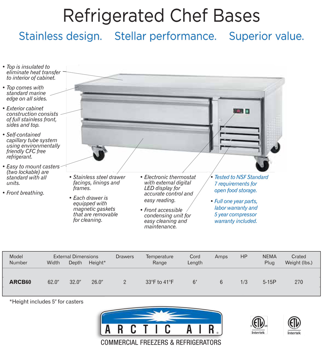 Arctic Air ARCB60 Refrigerated Chef Base Specification Image