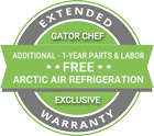 Arctic Air APP48R Pizza Prep Refrigerator Gator Chef Extended Warranty Badge
