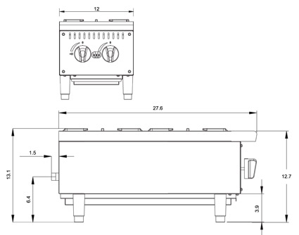 Atosa ATHP-12-2 Hot Plate Diamensional Drawing