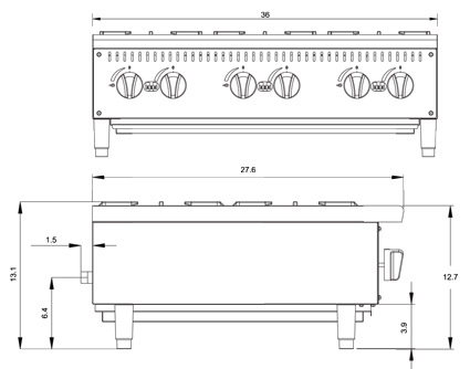 Atosa ATHP-36-6 Hot Plate Diamensional Drawing