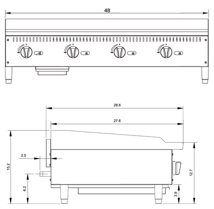 Atosa ATMG-48 Griddle Dimensional Drawing