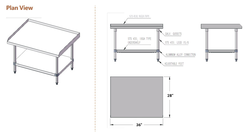 ATOSA ATSE-2836 Kitchen Equipment Stand Diamensional Drawing