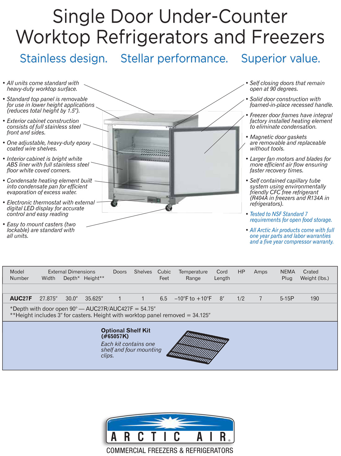 Arctic Air AUC27F Undercounter Freezer Specifications Diagram