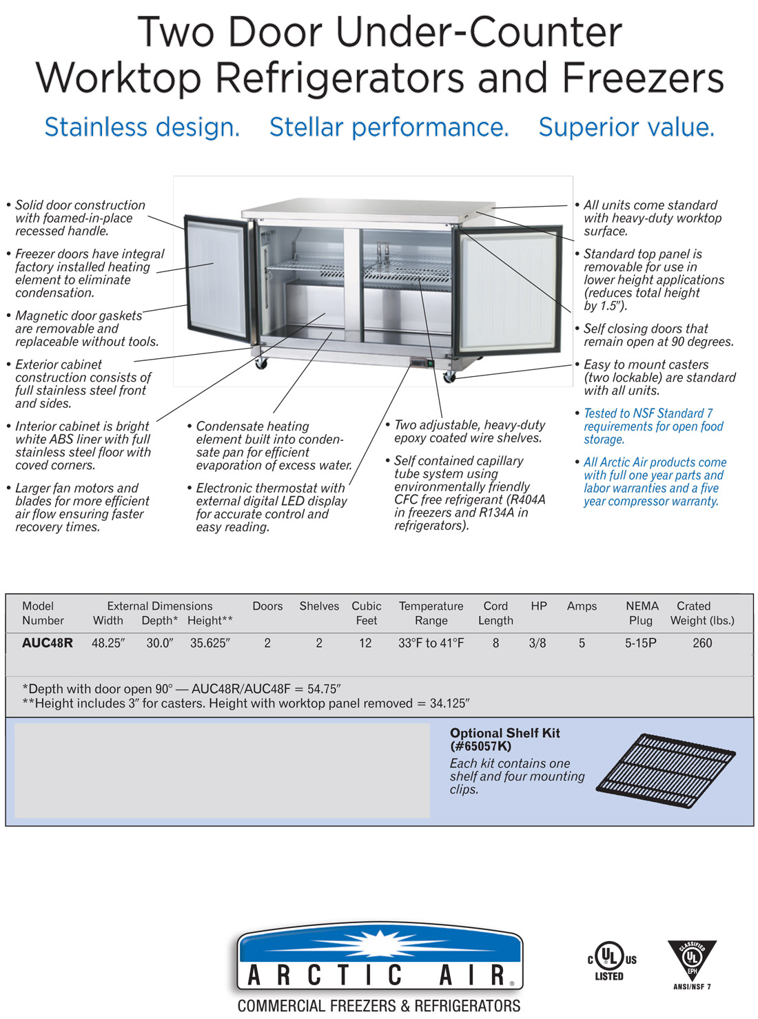 Arctic Air AUC48R 2-Door Undercounter Refrigerator Specifications Diagram