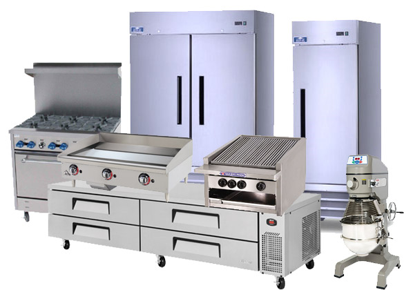 Group of commercial restaurant equipment as examples of what can be financed by Gator Chef Inc
