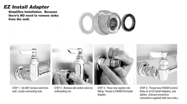 Fisher EZ Install Adapter instructions for commercial kitchen faucets