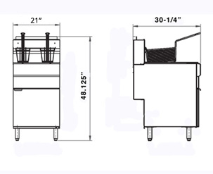 70 lb 5-Tube Deep Fryer -  150,000 BTU's - Natural Gas (Grindmaster-Cecilware FMS705NAT) - Dimensional Line Drawing