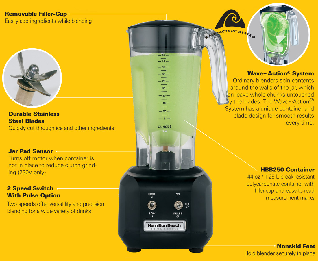 Hamilton Beach Rio HBB250R Commercial Blender Specification Image