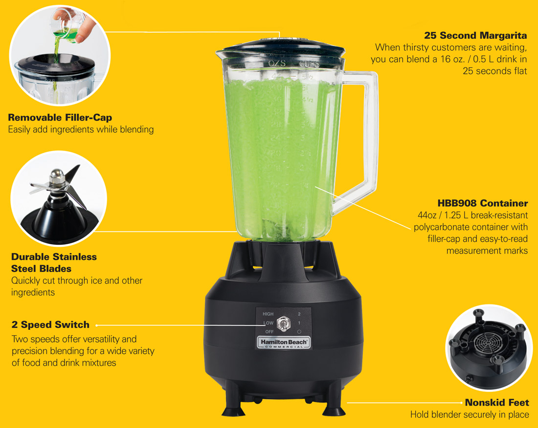 Hamilton Beach HBB908 Commercial Bar Blender Specification Image