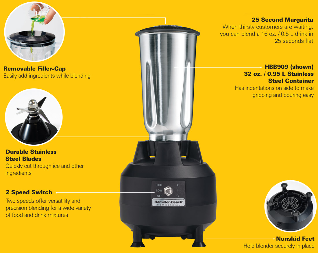 Hamilton Beach HHB909 Commercial Bar Blender Specification Image