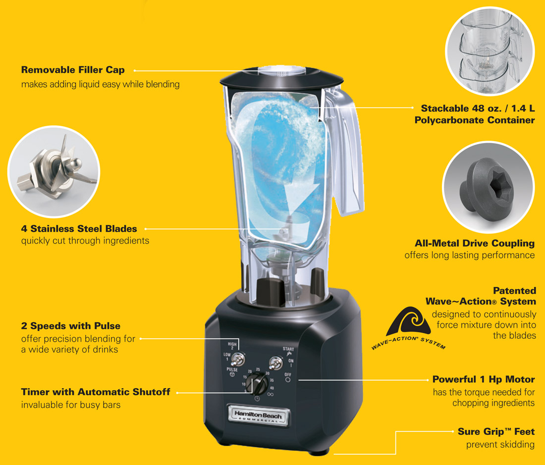 Hamilton Beach Tango HBH450R Commercial Blender Specification Image