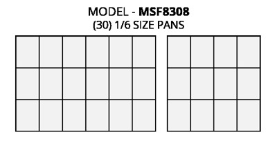Atosa MSF8308 Refrigerated Food Pre Table Food Pan Layout Diagram