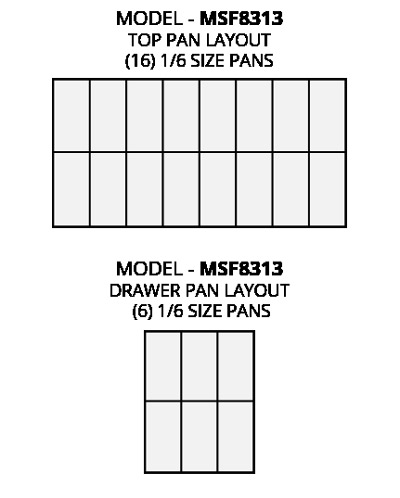 Atosa MSF8313 refrigerated pre table food pan layout diagram