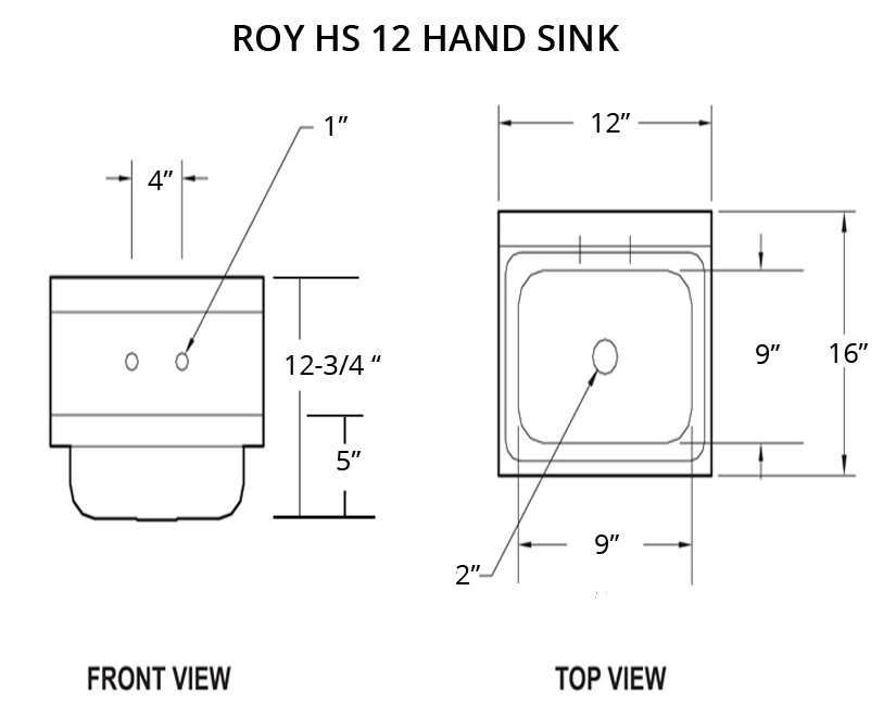 Commercial wall mount hand sink 12 inches wide roy hs 12