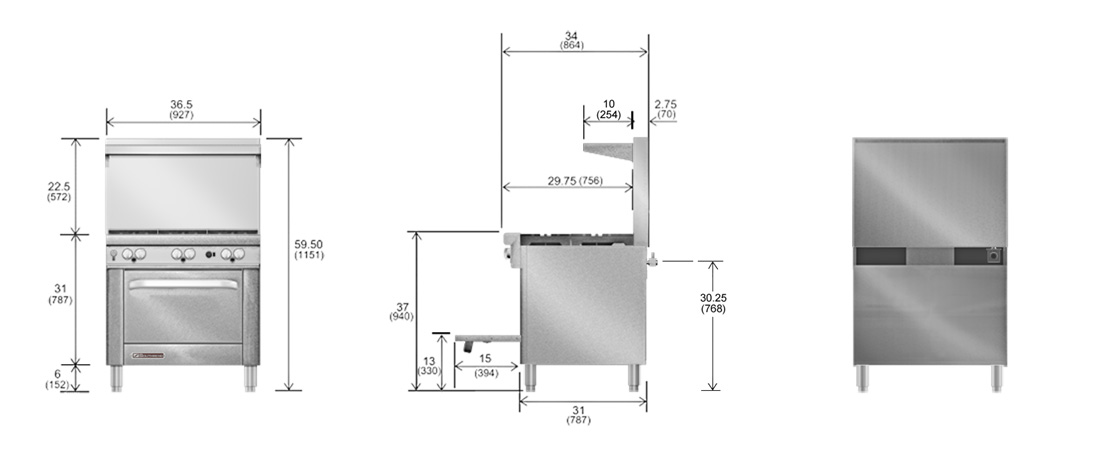 Southbend S4361D Restaurant Range Dimensional Drawing