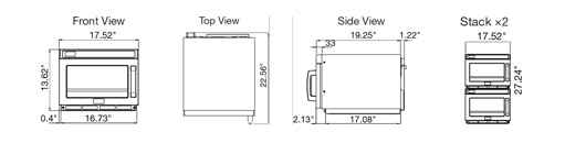 Sharp R-CD1200M Commercial Microwave Oven Dimensional Drawings