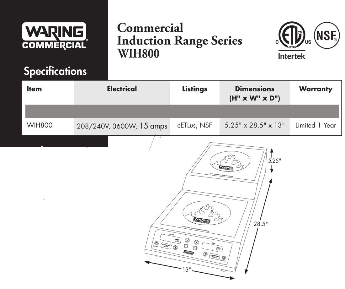 Waring WIH800 Induction Cooktop Specfication Sheet