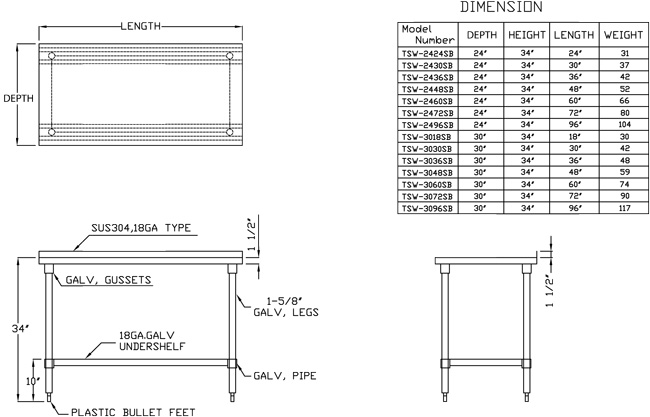 Turbo Air economy series work tables