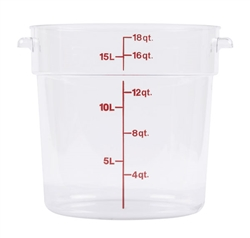 Winco Round Food Storage Container 18 Qt Clear