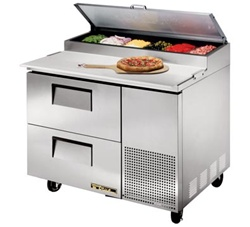 True 44 Inch 11 4 Cu Ft 2 Drawer Pizza Prep Table With