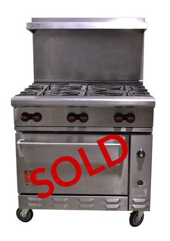 Used Wolf 6 Burner Commercial Restaurant Range With Standard Oven 36 Wide C36 S 6b